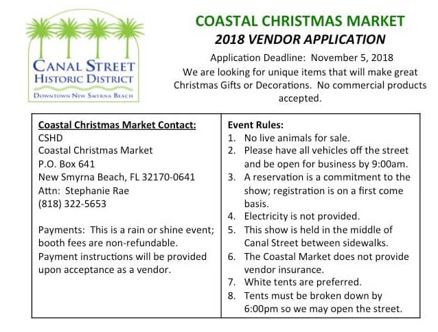 Vendor Christmas on Canal Application Rules