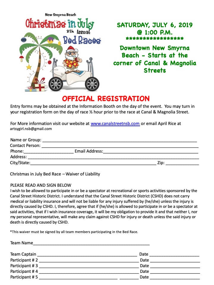 Bed race registration - Canal Street Historic District